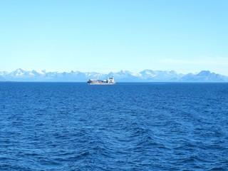 Ship in arctic scenery