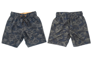 Shorts for swimming military coloring on white isolated background front and back