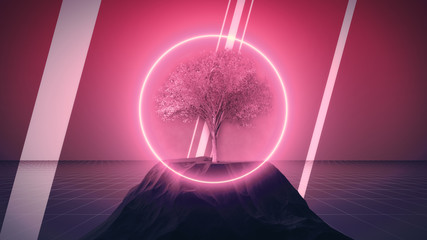 Fototapeten Rosa Lovey Synthwave dystopian tree with rocks and neon circle