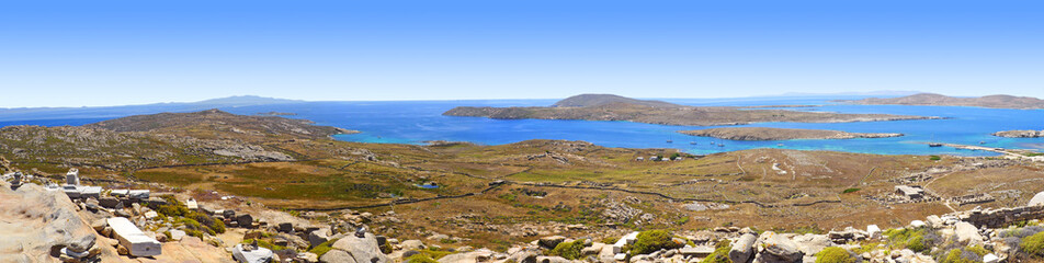 incredible panoramic view of the Cyclades Islands from Mount Kinthos, the highest point of the island of Delos