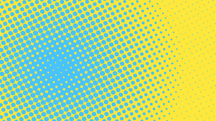 Yellow and blue pop art background with dots design, abstract vector illustration in retro comics style