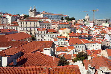 Lisbon cityscape with old tile roofs of historical city streets