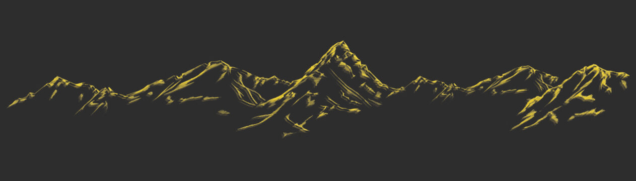 Handdrawn mountain background set