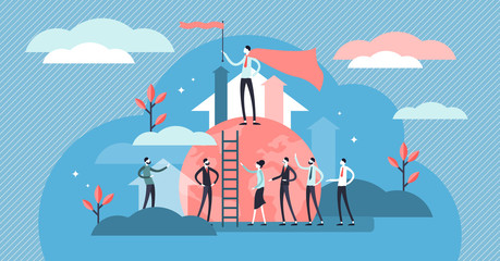 Leading vector illustration. Flat tiny business team leader persons concept
