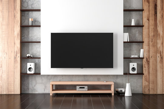 Large Smart Tv Mockup hanging on the wall in modern living room