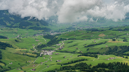 Switzerland, panoramic view on Appenzell and Weissbad villages