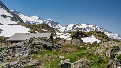 Switzerland, Sustenpass beautiful panoramic view, Berggasthaus Sustenpass Hospiz.