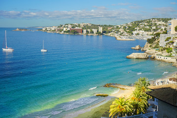 Panoramic view at Cala Major beach, Spain, Palma de Mallorca