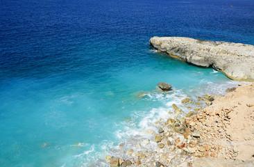 Palma de Mallopca stone coast and turquaise water