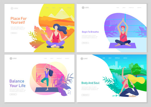 Web page design template with Man and woman meditate, sitting in yoga posture at home and at outdoor. Practice yoga lesson on nature. Mental health concept. Vector illustration cartoon