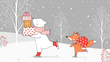 Draw polar bear holding gifts and fox with bag gift in snow.