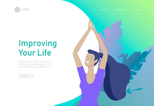 Web page design template with woman meditate, sitting in yoga posture at home and at outdoor. Practice yoga lesson on nature. Mental health concept. Vector illustration cartoon