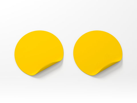 Two yellow round adhesive stickers mockup on gray background