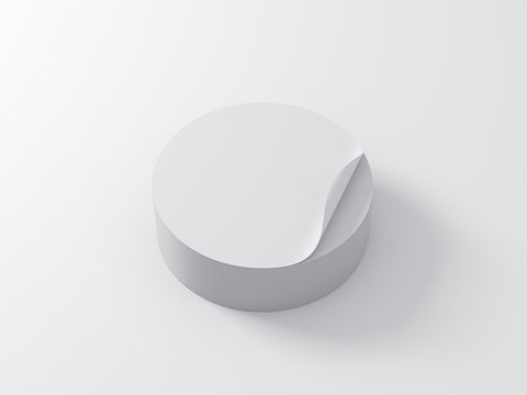 Stack of white round adhesive stickers mockup on white table, 3d rendering