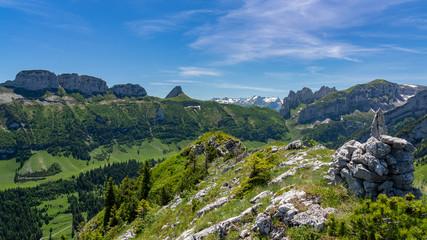 Switzerland, Appenzell, panoramic view on mountains around