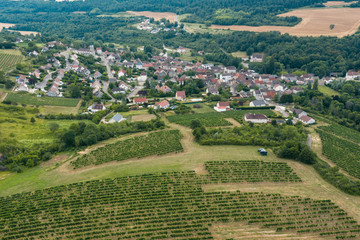 Village of burgundy in France with vineyards. View from above by a drone