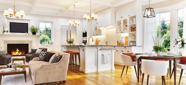 Luxurious interior design with white kitchen and living room with fireplace