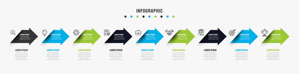 Business timeline infographics template with 7, 8, 9 options, steps, arrow, icons, flowchart, presentations, workflow. Vector eps10 illustration.