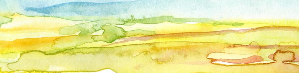 Foto auf Acrylglas Gelb Schwefelsäure Hand Drawn Abstract Watercolor Background