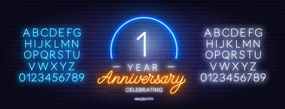 First Year Anniversary celebration neon sign on a dark background.