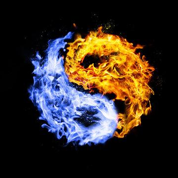 fire yin yang symbol, orange and blue,isolated on black background