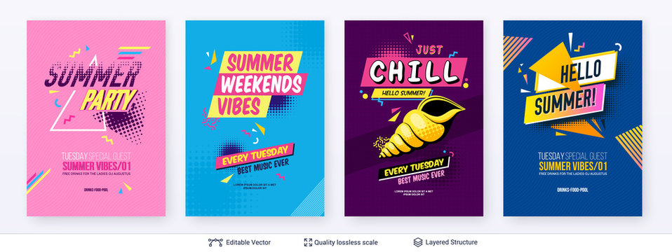 Set of summer season ad posters in pop-art style.