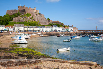 Gorey harbour and Mont Orgueil Castle in Jersey