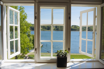 Lake view from open windows