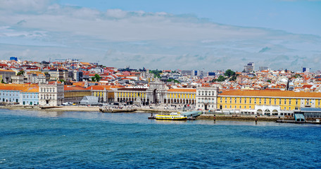 View from the River Tagus of the famous Praca do Comercio (Commerce Square) in Lisbon, Portugal