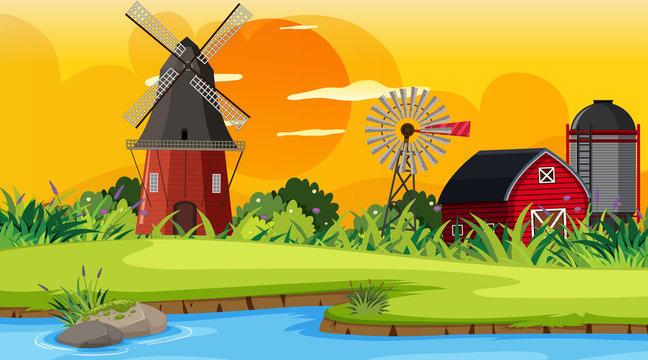 An outdoor scene with farm