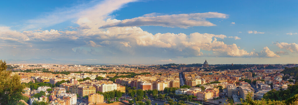 Skyline of Rome, Italy. Rome architecture and landmark, cityscape