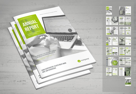 Annual Report Layout in Light Gray and Pale Green