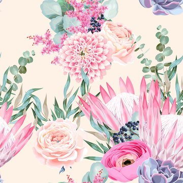 Vector seamless pattern with protea and roses