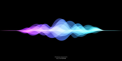 Garden Poster Abstract wave abstract motion sound wave equlizer colorful purple blue green isolated on black background. Vector illustration in concept of sound, voice, music