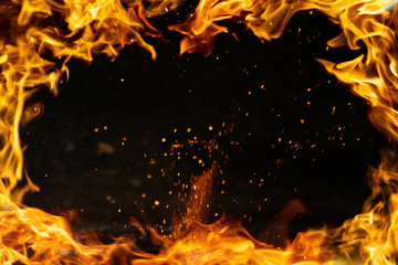 fire frame with sparks, isolated black inside