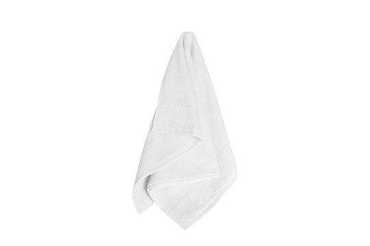 white towel hanging isolated on white background