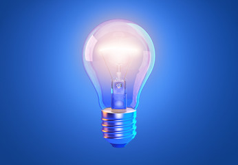 Transparent tungsten glowing light bulb with shining light, isolated on blue background. Innovation, effective thinking, inspiration, invention, creative idea, energy saving concept. 3D illustration