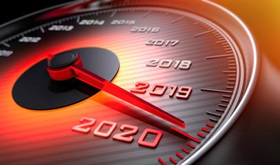 Tachometer 2019 auf 2020 Fototapete