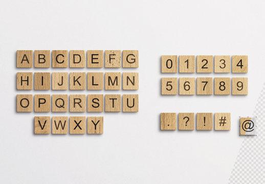 Wooden Word Game Tiles Mockup