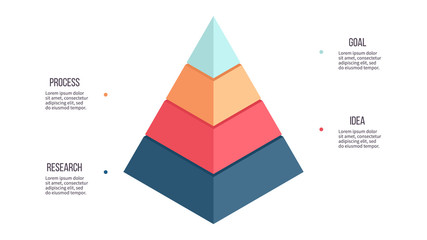 Obraz Business infographics. Pyramid chart with 4 steps, options, layers, levels. Vector diagram. - fototapety do salonu