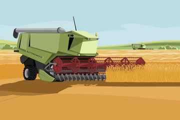 Wall Mural - Autonomous harvester working on a smart farm. Vector illustration