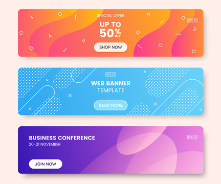 Colorful web banner concept with push button. Collection of horizontal promotion banners with gradient colors and abstract dynamic shapes. Header design for website. Vibrant background.