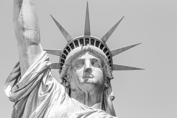 Statue of Liberty face in black and white