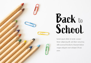 Back to School Banner Layout with Pencils and Paperclips