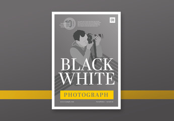 Poster Layout with Grayscale Photographer Illustration Element