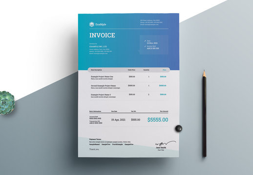 Blue and White Corporate Invoice Layout