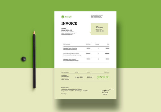 Green and White Corporate Invoice Layout
