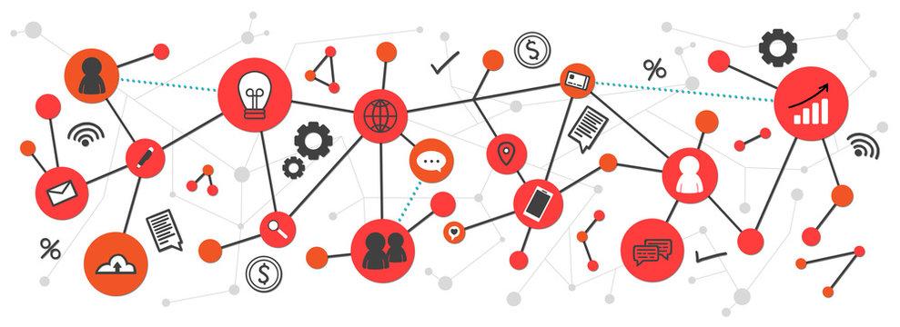 Network and social media marketing banner
