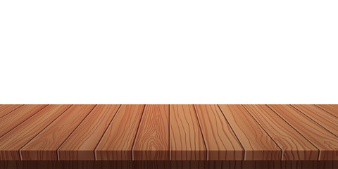 vector wood table top on white background.realistic wooden table, 3d. Element for your design, advertising.vector