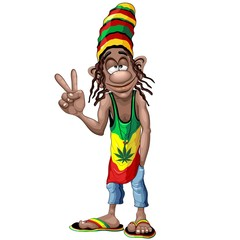 In de dag Draw Rastafari Cool Peace Sign Cartoon Character Vector Illustration